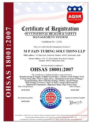 OHSAS 18001 : 2007 Certificate