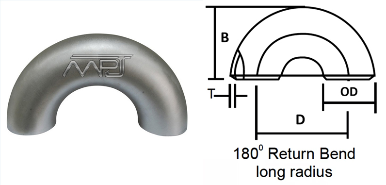 Butt weld 180 degree Long Radius Elbow Dimensions