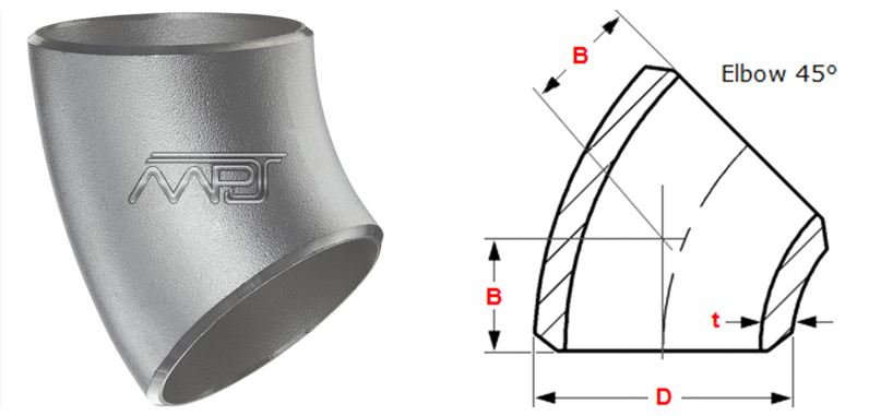 Butt weld 45 degree Long Radius Elbow Dimensions