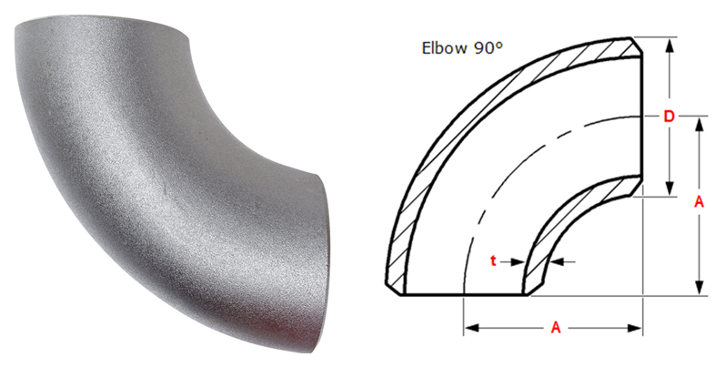Butt weld 90 degree Long Radius Elbow Dimensions